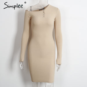 Simplee Autumn one shoulder bodycon sexy dress Women long sleeve elastic white dresses Winter evening club black short dress - LyLyDress