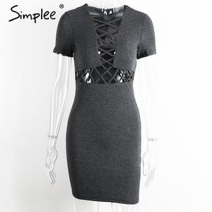 Simplee Autumn winter knitted lace up dress women Sexy red bodycon dress vestidos Elegant party short sleeve girls dress 2016 - LyLyDress