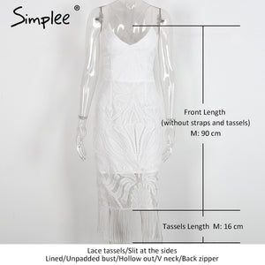 Simplee Backless V neck beach summer dress women Zipper white lace dress new year Hollow out sexy party dresses tassels vestidos - LyLyDress