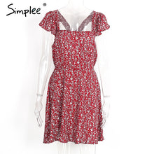 Simplee Backless navy floral print short dress Women back strap high waist summer dress Vintage red boho beach dress vestidos - LyLyDress