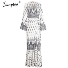 Simplee Boho floral print chiffon split long dress Women beach summer v neck kimono sexy dress Eleagnt sash wrap maxi dresses - LyLyDress