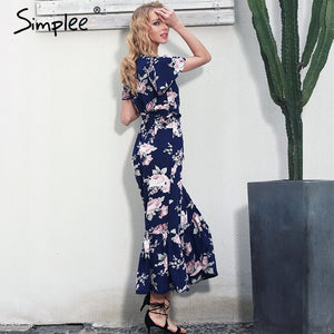 Simplee Boho floral print mermaid long dress Summer beach vintage split women dress robe Elegant sashes bow maxi dress vestidos - LyLyDress