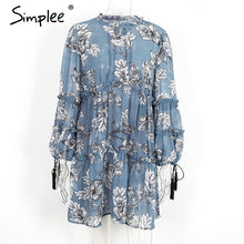 Simplee Boho floral print tassel women dress Autumn winter long sleeve ruffle chiffon dress Vintage loose short dress vestidos - LyLyDress