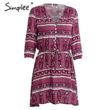 Simplee Elegant floral print short dress Women boho paisley v neck sexy dress Autumn vintage loose button beach dresses vestidos - LyLyDress