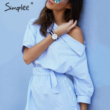 Simplee Fashion one shoulder striped dress shirt Sexy side split beach dress women Elegant half sleeve waistband OL girls dress - LyLyDress