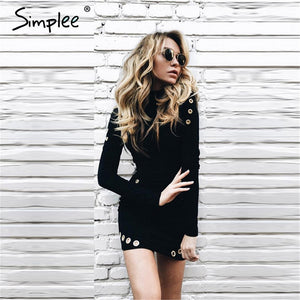 Simplee Hollow out hole bodycon dress Elegant black long sleeve short dress Women slim party club sexy dress vestidos de fiesta - LyLyDress