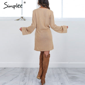 Simplee Lace up knitted sweater dress Women autumn casual flare sleeve soft loose short dress Winter 2016 deep v neck sexy dress - LyLyDress
