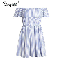 Simplee Off shoulder ruffle striped summer dress Casual hollow out backless short dress robe Women beach sexy dress vestidos - LyLyDress