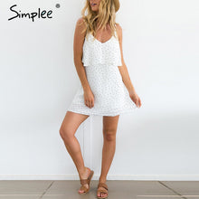 Simplee Ruffle chiffon polka dot summer dress Vintage soft black backless short dress Women causal beach white dress vestidos - LyLyDress