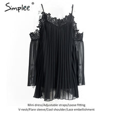 Simplee Sexy  black lace summer dress 2016 christmas Short split white women dress shirt Off shoulder long sleeve beach sundress - LyLyDress