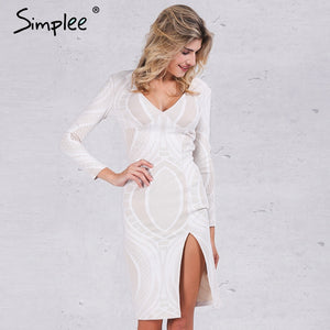 Simplee Sexy white lace split bodycon dress Women autumn deep v neck slim pencil dresses Party long sleeve winter dress vestidos - LyLyDress