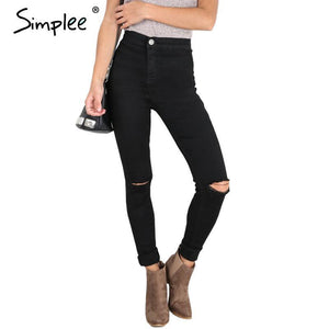 Simplee Summer style white hole ripped jeans Women jeggings cool denim high waist pants capris Female skinny black casual  jeans - lemonclothes