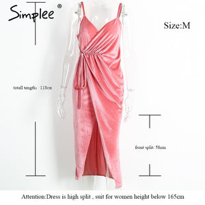 Simplee V neck pink velvet sexy dress women Evening party high split backless long dress Sundress with belt vestidos de festa - LyLyDress