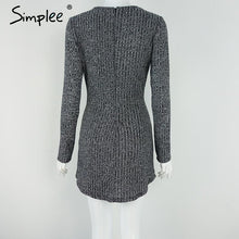 Simplee charcoal women winter knitted dresses Long sleeve v neck lace up sweater dress Casual bodycon dress vestidos - LyLyDress