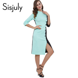 Sisjuly women bodycon dress black green summer spring slim party dress button split office dresses patchwork bodycon dresses - LyLyDress
