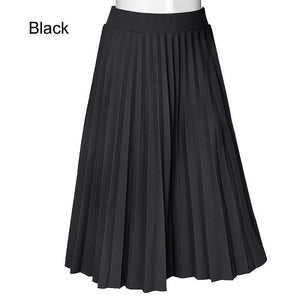 Skirts Women Spring Autumn Summer Style Women's High Waist Pleated Fashion Solid Girl Half Length Skirt Breathble Ankle Length - lemonclothes