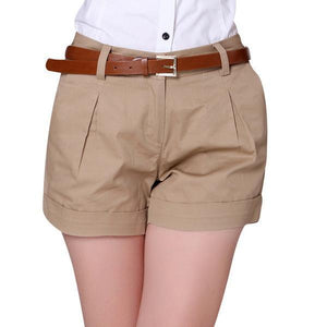 Korea Summer Woman Cotton Shorts Size S-3XL New Fashion Design Lady Casual Short Trousers Solid Color Khaki / White - LyLyDress