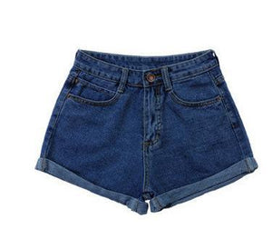 Vintage High Waist Crimping Denim Shorts Women 2018 Europe Style New Fashion Brand Slim Casual Femme Short Jeans Mujer Plus Size - lemonclothes
