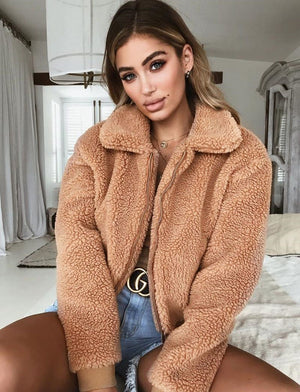 Women Coat Warm Teddy Bear Coat Fleece Zip Outwear Ladies Jacket Oversized Winter Fashion Women Clothes Overcoat - lemonclothes