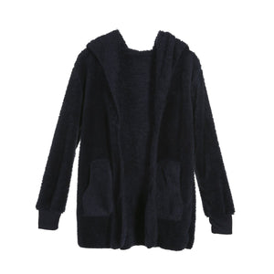 Women Coats Winter Warm Long Sleeve Loose Cardigan Outwear Hooded Coat New Fashion Women Clothes - lemonclothes