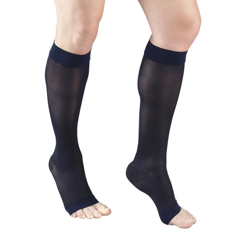 1772 Knee High Open Toe Navy Sheer Stockings