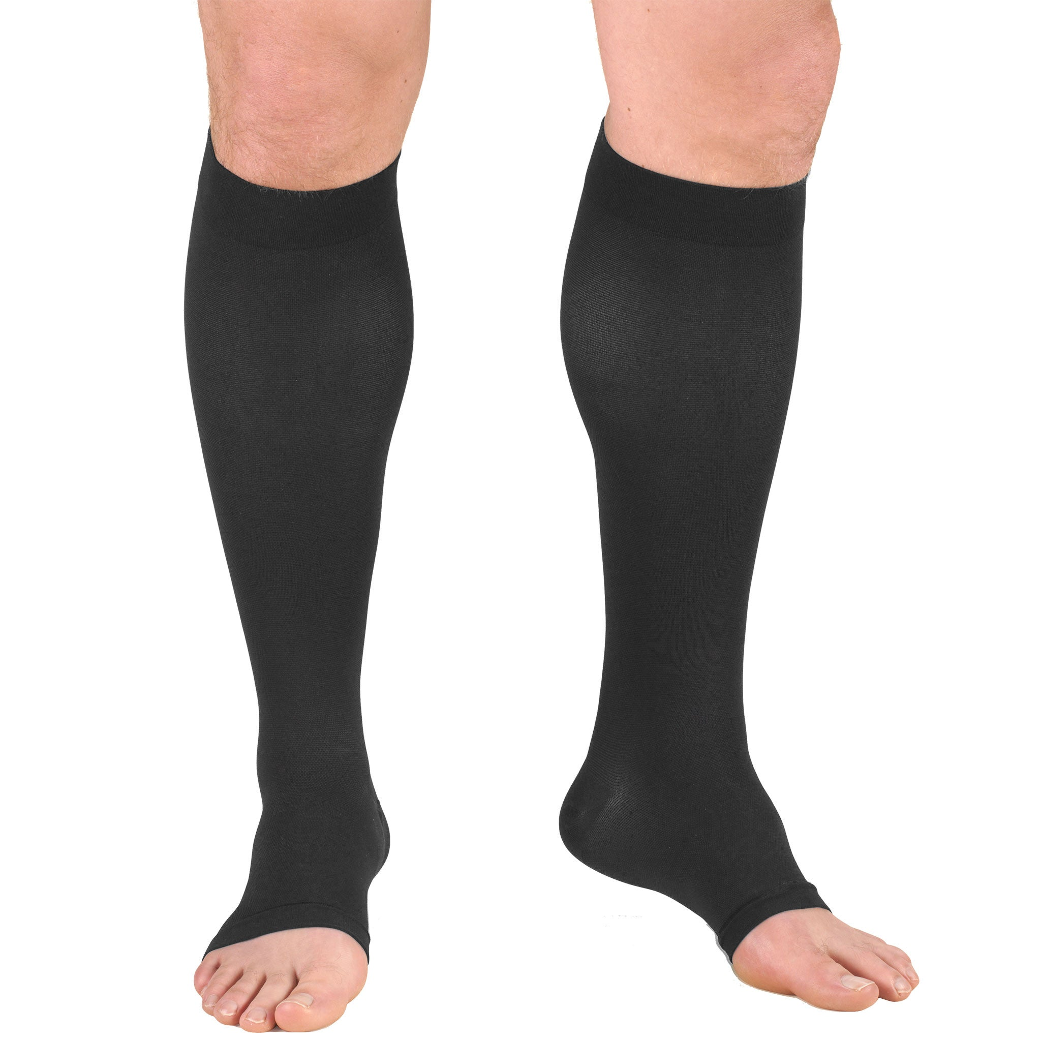 0845 Knee High Open Toe Charcoal Medical Stockings