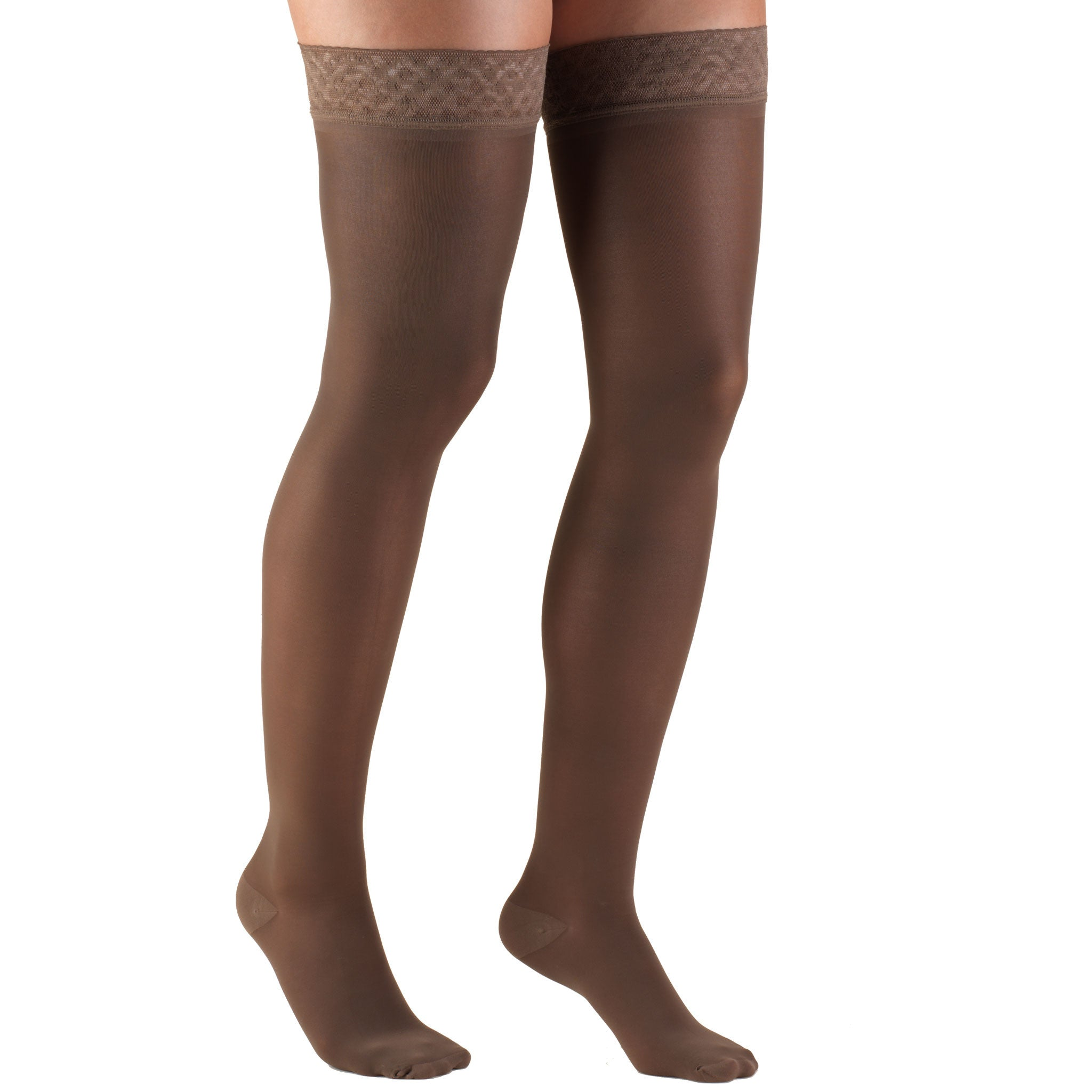 0264 Ladies' Thigh High Closed Toe Taupe Pattern Sheer Stocking