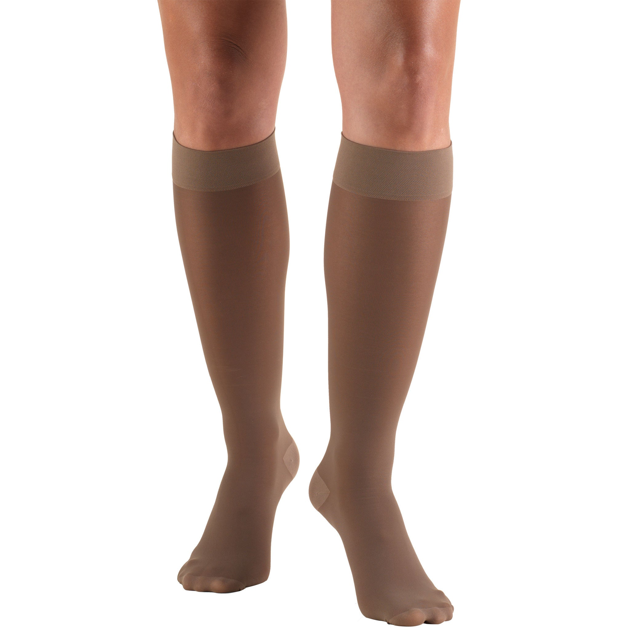 SHEER BELOW KNEE CLOSED TOE TAUPE STOCKINGS