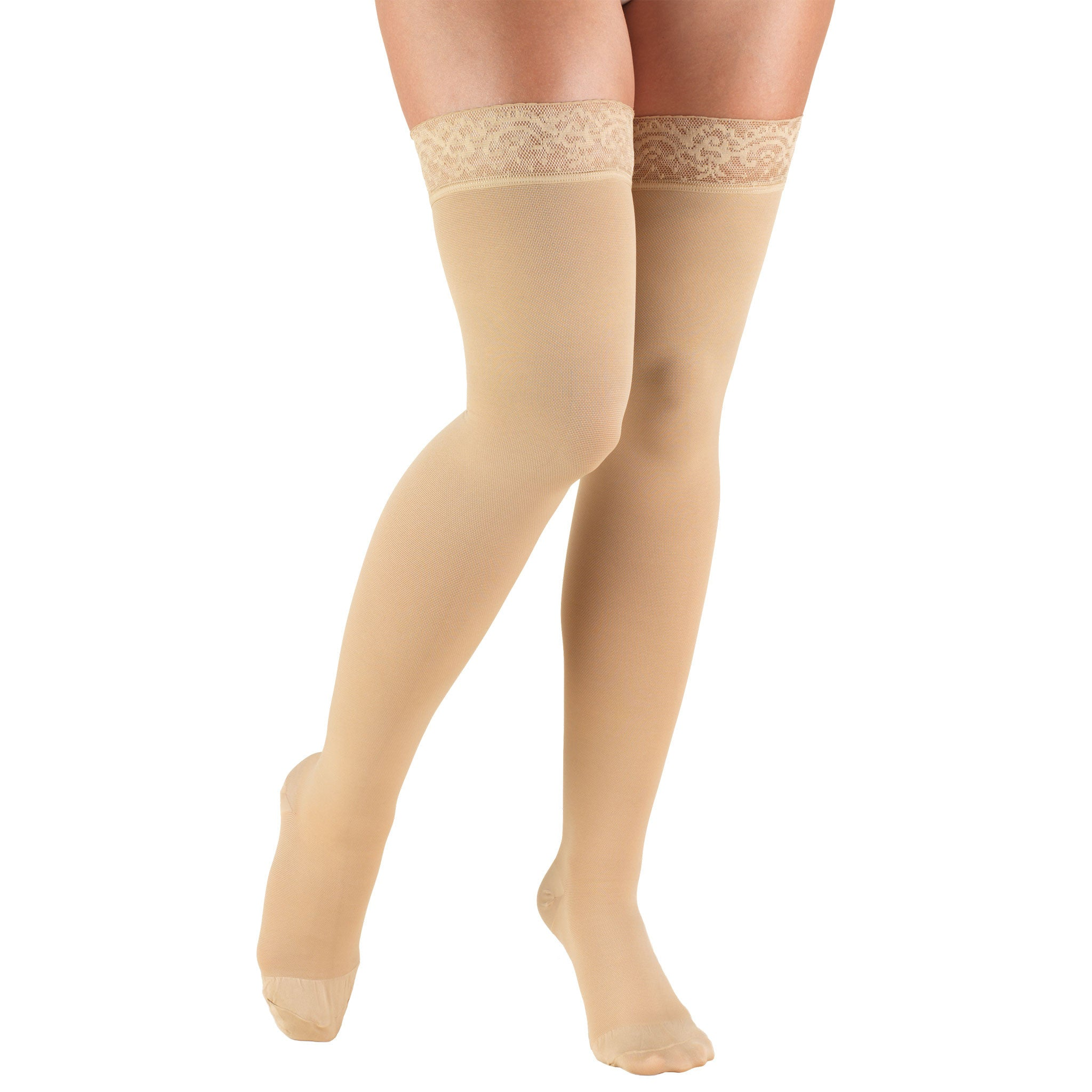 8867 THIGH HIGH CLOSED TOE BEIGE STOCKINGS