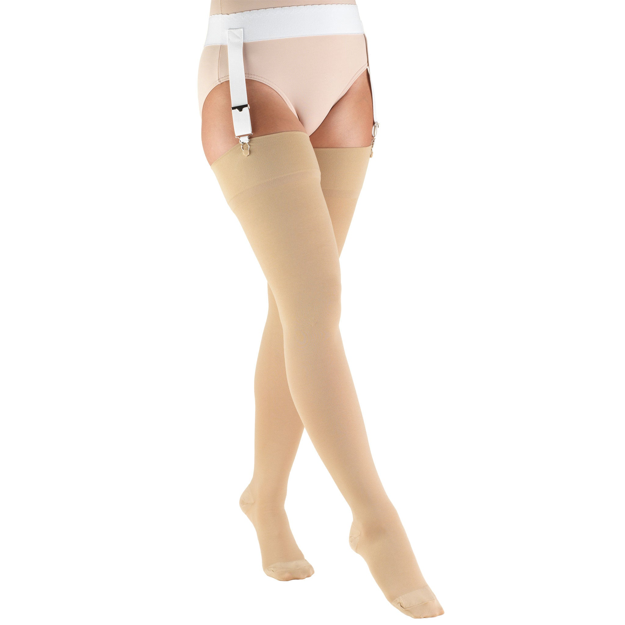 8846 THIGH HIGH CLOSED TOE BEIGE STOCKINGS