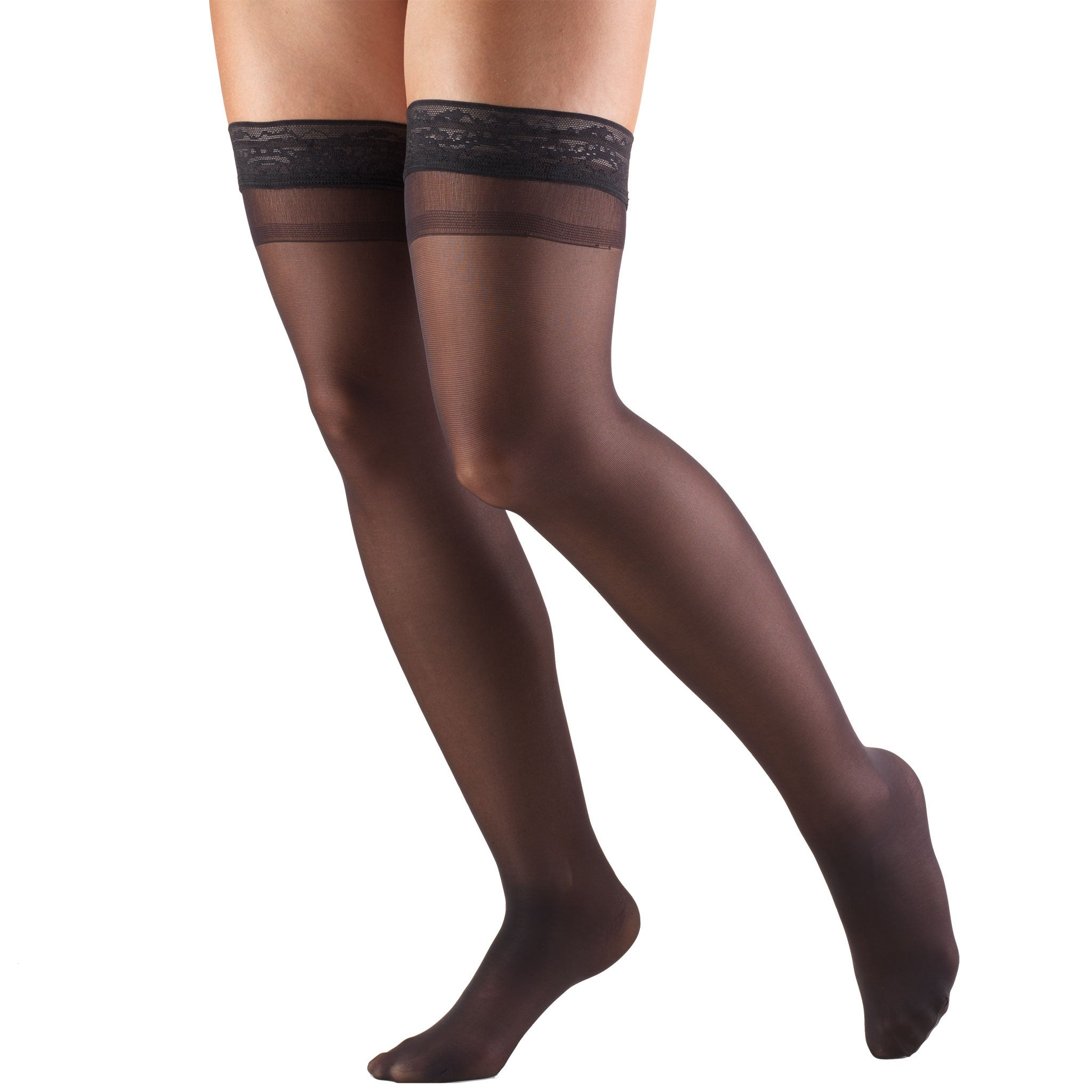 1764 Ladies' Thigh High Closed Toe Black Pattern Sheer Stocking