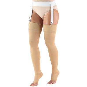 0846 / Truform Compression Stockings / 30-40 mmHg / Thigh High / Open Toe / Beige