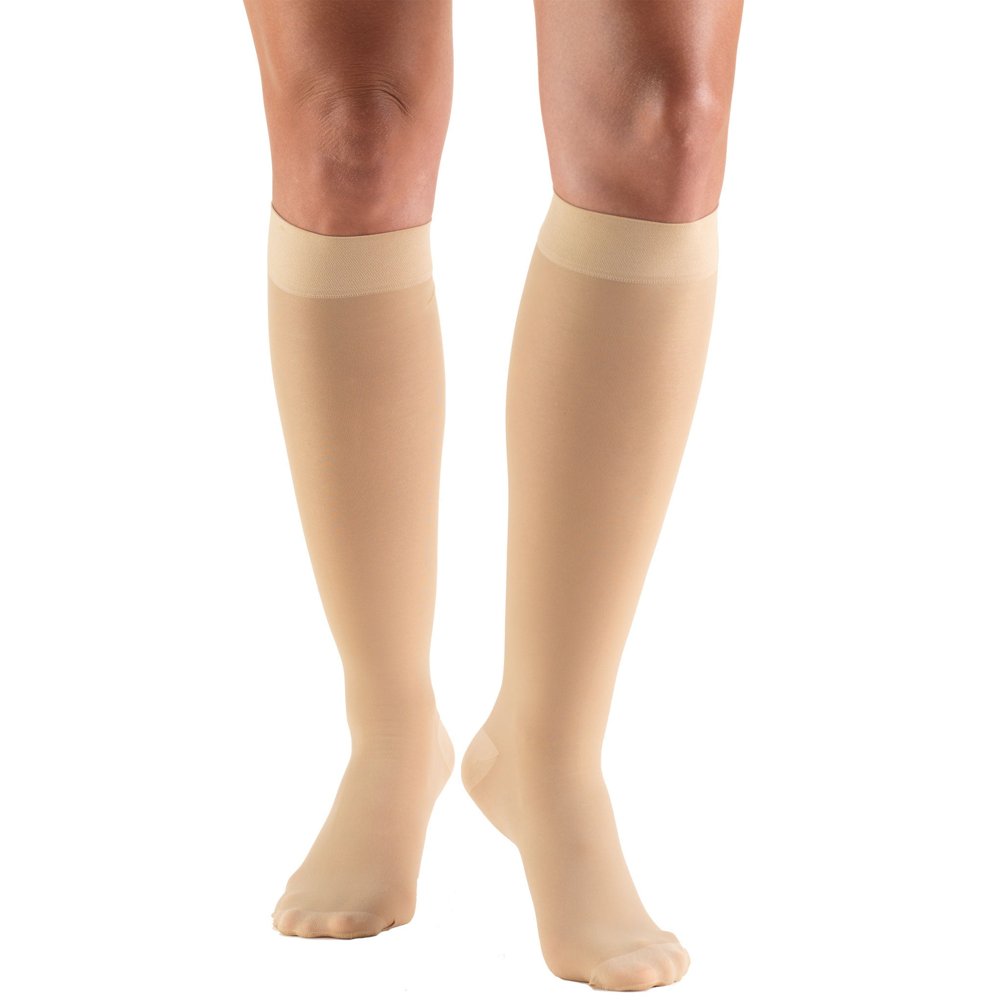 SHEER BELOW KNEE CLOSED TOE BEIGE STOCKINGS