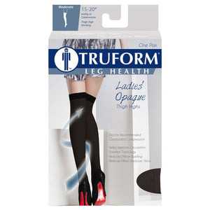 0374 / Truform Compression Stockings / 15-20 mmHg / Opaque Microfiber / Thigh High / Packaging