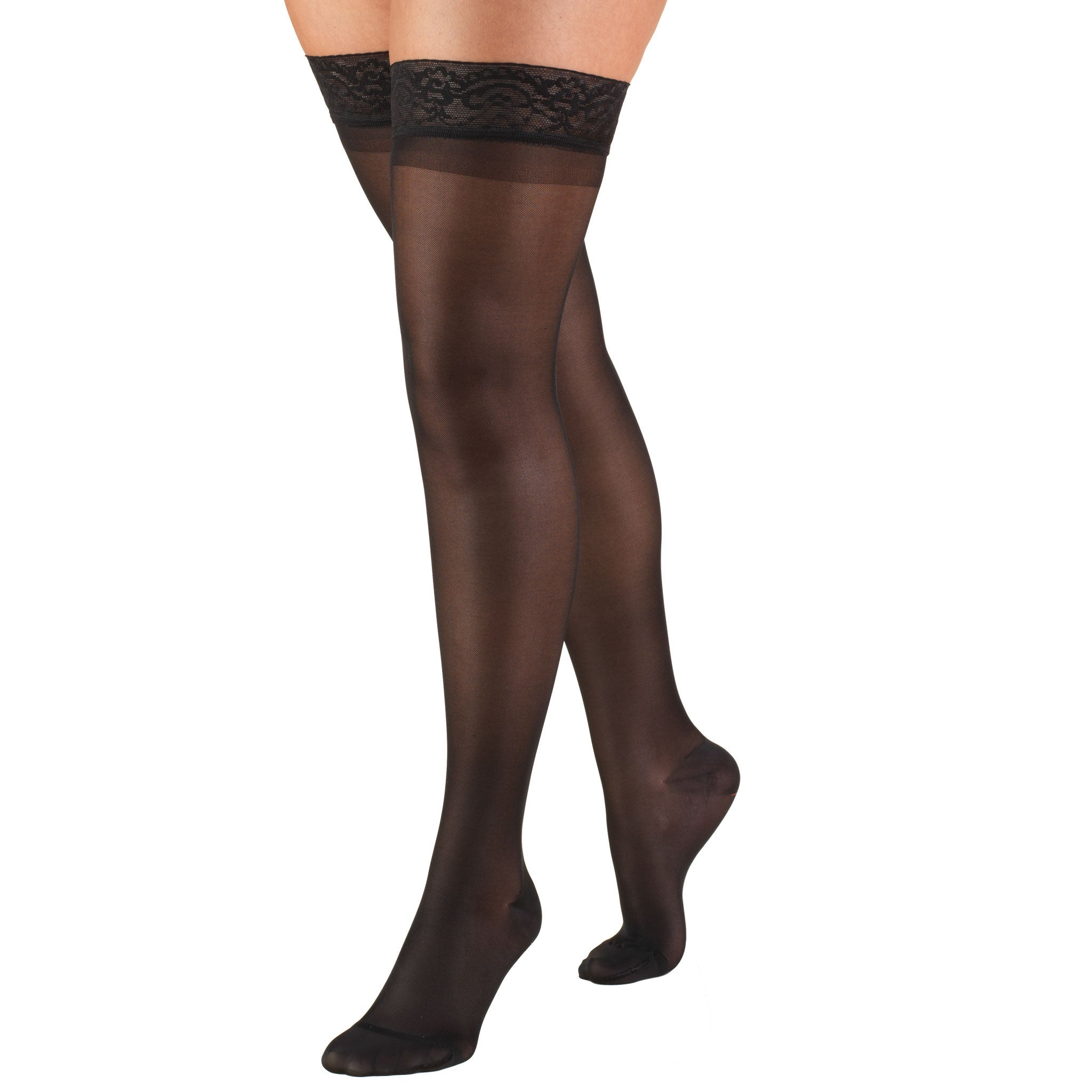 1774 Ladies' Thigh High Closed Toe Black Pattern Sheer Stocking