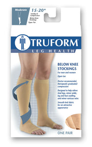 0875 / Truform Compression Stockings / 15-20 mmHg / Knee High / Open Toe / Packaging
