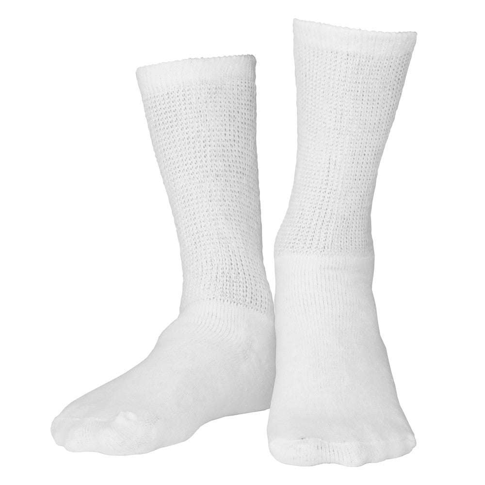 1918 Loose Fit Crew Length White Diabetic Socks