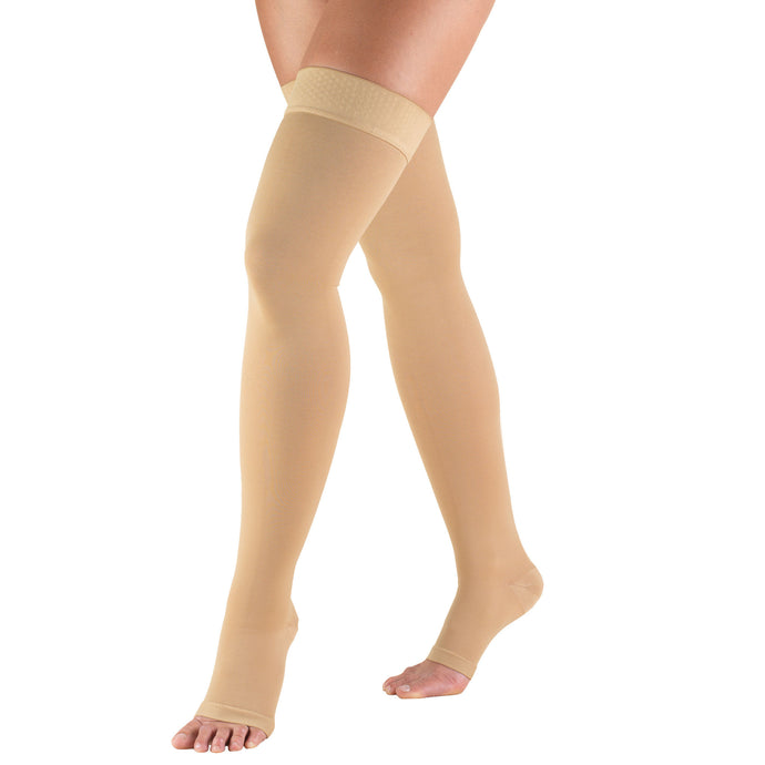 0848 / Truform Compression Stockings / 30-40 mmHg / Thigh High / Open Toe / Dot Top / Beige