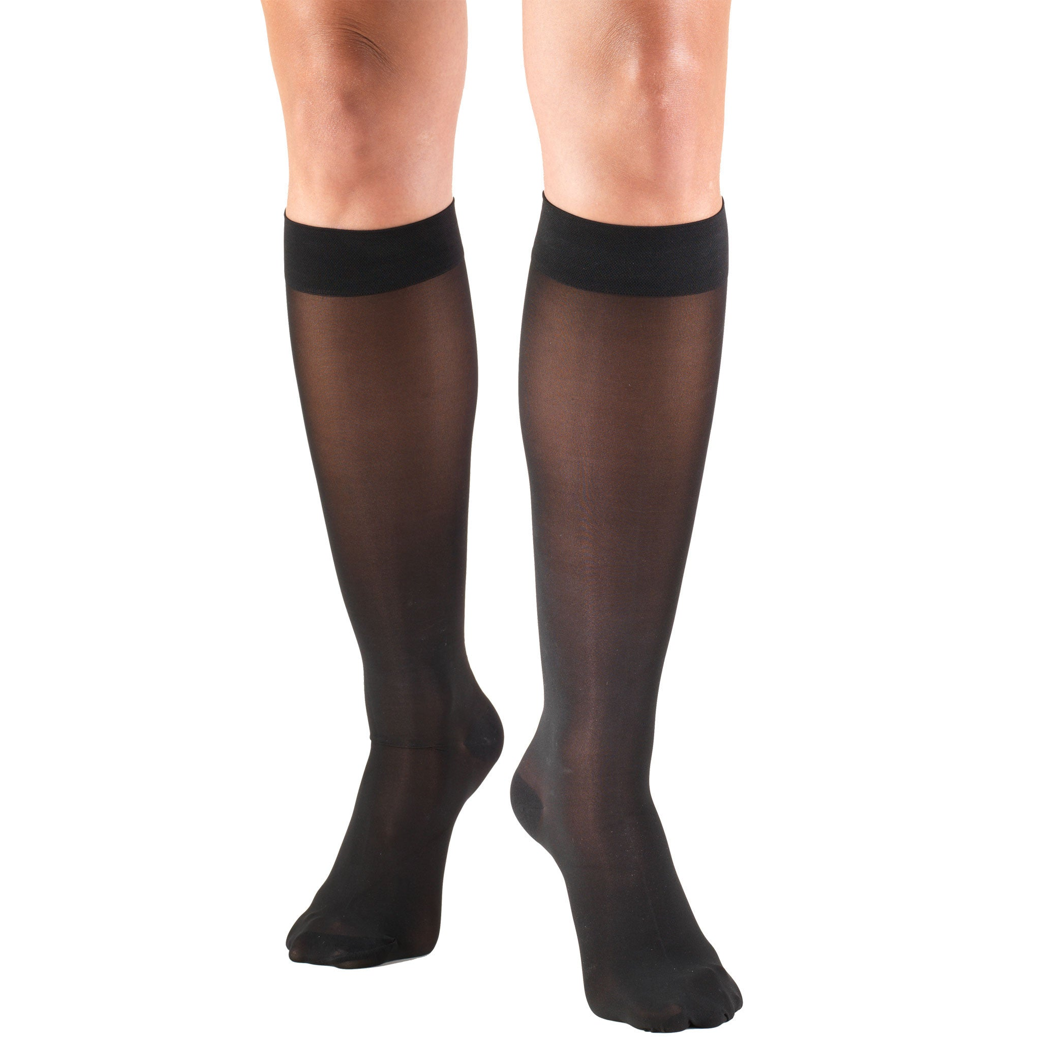 SHEER BELOW KNEE CLOSED TOE BLACK STOCKINGS