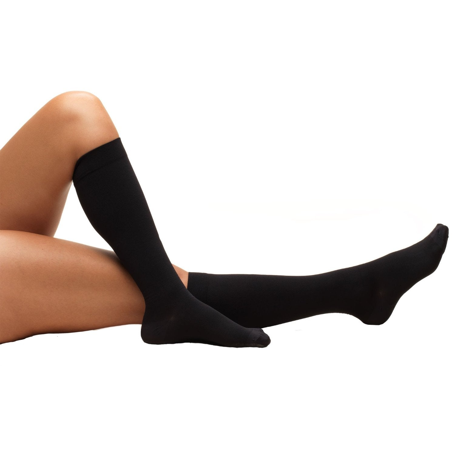 Black 8808 Knee High Closed Toe Beige Anti-Embolism Stockings