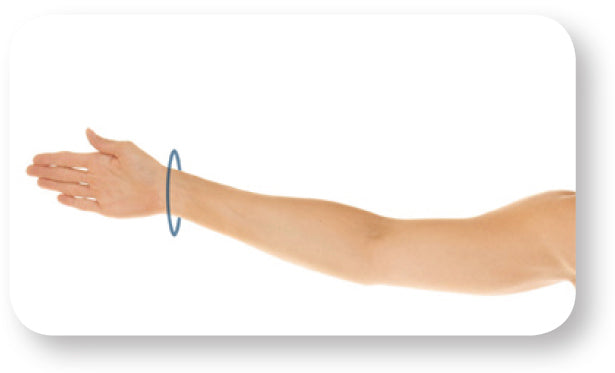 Black circle on arm displaying where to measure wrist circumference