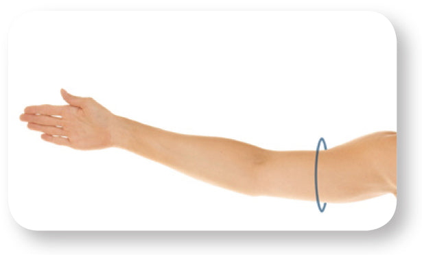 Black circle on arm displaying where to measure mid-upper arm circumference