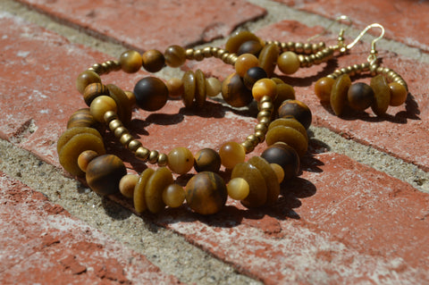 Tiger Eye Recycled Glass Natural Stone Stretch Bracelet