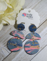 Ashlei Circle and Half Circle Polymer Clay Earrings
