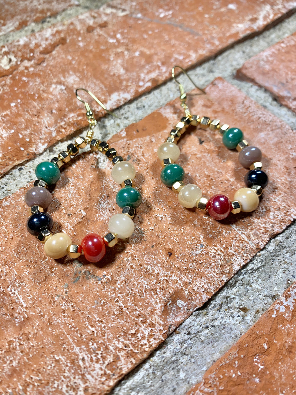Autumn Color Story Glass and Hematite Bead Earrings