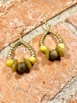 Golden Harvest Tiger's Eye and African Glass Earrings
