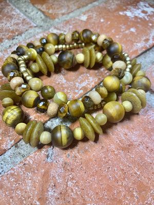 Golden Harvest Natural Stone and African Glass Bracelets