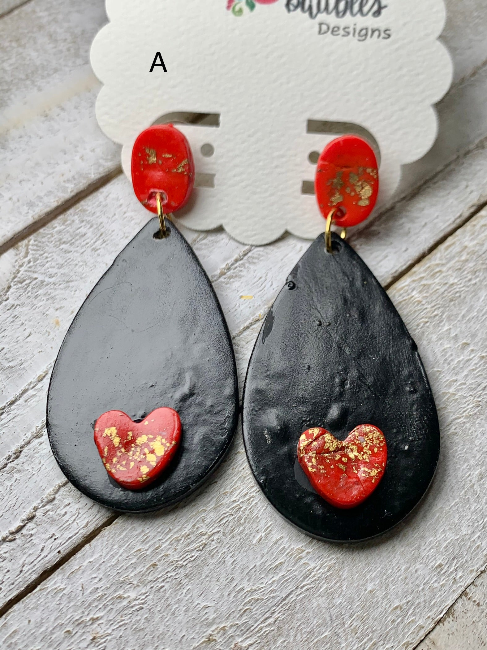 Tara Teardrop Earrings with Heart