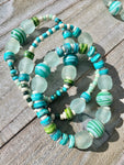 Ocean Drops Recycled Glass Bracelet Stack