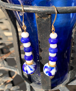 Deep Winter Recycled Glass and Natural Stone Earrings